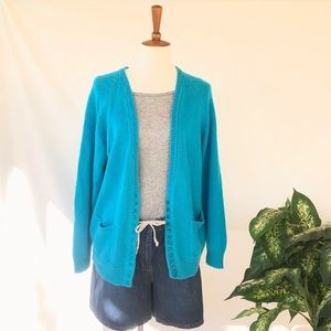 Vintage Baby Blue Cardigan with Buttons & Pockets!